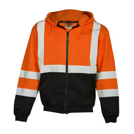 ML Kishigo Class 3 Zipper Front Hi-Viz Hoodie Sweatshirt - Front view of ML Kishigo high visibility orange hoodie with silver reflective stripe around upper waist and extending vertically over both shoulders. Two silver reflective bands on each arm at elbow and forearm. Each sleeve is black from the bottom reflective band to the cuff and the bottom is black from the reflective band to the cuffed waistband. Black zipper closure and two slash pockets.