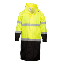 ML Kishigo Class 3 Waterproof Zipper Front Long Rain Coat - Front view of ML Kishigo high visibility long yellow rain coat with silver reflective stripes at mid back and below waist. Each arm has two reflective stripes, one at bicep and one at forearm. Contrasting, dirt hiding black goes from bottom stripe to hem and bottom stripe of sleeves to cuffs. Snap and zipper closure with two slash pockets with flaps.