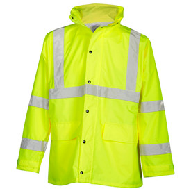 ML Kishigo Waterproof Hi-Viz Adjustable Rain Suit - Front view of ML Kishigo high visibility yellow rainwear suit. Jacket has 2 lower patch pockets with flaps and silver reflective band around the chest. Reflective stripes from chest band over shoulders and two bands on each arm at bicep and forearm levels. Adjustable cuffs and zipper closure with snap storm front. Pants have elastic waist and two silver reflective bands below the knee. Adjustable ankle cuffs.