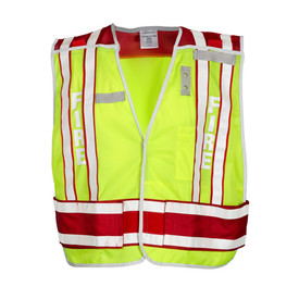 ML Kishigo Public Safety - Fire Mesh Hi-Viz Breakaway Vest - Front view of ML Kishigo high visibility yellow vest with white on red reflective stripe at waist and double bands extending vertically over each shoulder. Double bands have white base with red contrasting on outside edges. Convenient left mic tab holder, left chest badge holder and Right chest name tag holder. Left chest pencil and hook and loop closure.