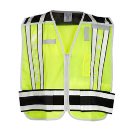 ML Kishigo Public Safety - Police Mesh Breakaway Hi-Viz Vest - Front view of ML Kishigo high visibility yellow vest with white on black reflective stripe at waist and double bands extending vertically over each shoulder. Double bands have white base with black contrasting on outside edges. Convenient left mic tab holder, left chest badge holder and Right chest name tag holder. Left chest pencil and hook and loop closure.