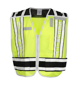 ML Kishigo PS - Security 4 Point Breakaway Mesh Hi-Viz Vest - Front view of ML Kishigo high visibility yellow vest with white on black reflective stripe at waist and double bands extending vertically over each shoulder. Double bands have white base with black contrasting on outside edges. Convenient left mic tab holder, left chest badge holder and Right chest name tag holder. Left chest pencil and hook and loop closure.
