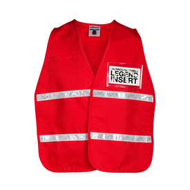 ML Kishigo Hook and Loop Closure Non-ANSI 2 Pocket Vest - Front View of Red MLK Incident Command Safety Vest with silver reflective tape on waist area and upper chest area. Left chest has a clear slot to hold IDs.