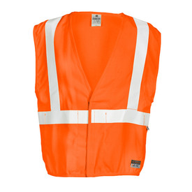 ML Kishigo FR Mesh Hook and Loop 3 Pocket Class 2 Vest - Front view high visibility orange vest with white reflective striping around the waist extending vertically over each shoulder. Hook and loop closure.