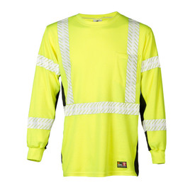 ML Kishigo FR Class 3 Long Sleeve Hi-Viz T-Shirt - Front view high visibility yellow long sleeve t-shirt with contrasting black sides and white reflective stripes around waist extending vertically over each shoulder. Underside of arm sleeves is black and there are two white reflective stripes on each sleeve, one at bicep and one at the forearm. Left chest pocket.