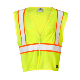 ML Kishigo FR Hook and Loop 4 Pocket Class 2 ANSI Vest - Front view high visibility yellow vest with reflective orange on white stripe around waist and extending vertically over both shoulders. Hook and loop closure. One outside left chest pencil pocket and one outside Right chest storage pocket.