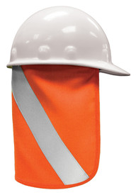 ML Kishigo FR Hard Hat Hi-Viz Nape Protector - High visibility orange nape cover with wide diagonal silver reflective stripe. Shown with white hard hat.