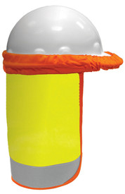 ML Kishigo FR Hi-Viz One Size Sun Shield - High visibility yellow sunshield with orange elastic band to attach to most hard hats. Wide silver reflective band on the bottom and contrasting orange striping along the edge.