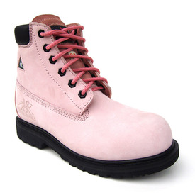 Women's Industrial Metal Free Safety Pink Work Boot - Betsy Xtreme - Pink, Leather safety work boot with pink laces a leather cuff and rubber sole