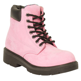 Women's Waterproof Pink Non-Safety Work Boot - Alicia- Pink, Comfortable metal free waterproof work boot with industrial grade lacing and a leather ankle cuff