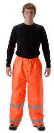 FR Class E Orange Nasco Rain Pants - Young Man wearing a NASCO black shirt and orange rain pants with 2 reflective silver stripes around each leg below the knee