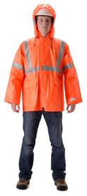 Nasco Arclite 1500 Class 3 FR  Rain Jacket - Yong guy wearing a NASCO Orange Rain Coat with silver reflective tape around both arms and around waist and a hood
