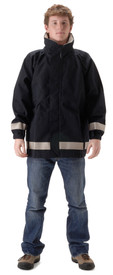 FR & Chemical Splash Refining Rain Jacket - Young Man wearing a NASCO Navy rain jacket with silver reflective tape around bottom of waist and bottom of both arms