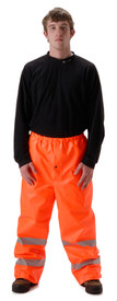 Nasco Orange FR CAT 2  High Viz Rain Pants - Young Man wearing NASCO orange rain pants with 2 silver reflective tape around both legs below the knee