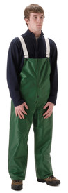 NASCO Lightweight Green Bib Trouser - Front View of Young Man wearing a NASCO green rain bib overall with 2 white suspenders over his shoulders