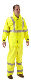NASCO Rampart FR CAT 2  Rain Jacket - Front view of man wearing a NASCO yellow rain jacket with reflective tape around both arms and around chest and up the front to the shoulders