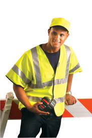 Occunomix Class 3 Solid Safety Vest - Front view of man wearing Occunomix yellow high visibility solid vest with sleeves, hook and loop closure, 2 horizontal silver reflective tape around body, 1 silver reflective tap going around each sleeve and silver reflective tape going up each front side and over shoulders.