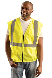 Occunomix Class 2 Zipper 2 Pockets Safety Vest - Front view of man wearing Occunomix Hi-Viz Yellow Mesh Safety Vest with a silver reflective stripe going up both front sides and over the shoulders and one silver reflective stripe going around the waist with one pocket on the upper left chest and zipper front closure