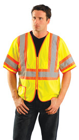Occunomix Class 3 Mesh 2 Tone Safety Vest - Front view of man wearing Occunomix yellow mesh safety vest with sleeves, zipper front closure, horizontal 2 inch silver on orange reflective tape around waist and both sleeves, 2 inch silver on orange reflective tape going vertical up each chest side and over shoulders and 1 lower outside pocket