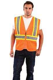Occunomix Class 2 Hi-Viz Mesh 2 Tone Safety Vest - Front view of man wearing Occunomix orange high visibility mesh safety vest with zipper front closure, silver on yellow reflective horizontal tape around lower vest and silver on yellow reflective tape up right and left sides and over shoulders and 1 large pocket on upper left side.
