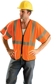 Occunomix Standard Class 3 Hi-Viz Mesh  Safety Vest - Front view of man wearing Occunomix orange high visibility mesh safety vest with sleeves, zipper front closure, silver reflective horizontal tape around vest, both sleeves and silver reflective tape up right and left sides and over shoulders.