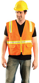 Occunomix NON-ANSI Mesh 2 Tone Surveyor Safety Vest - Front view of man wearing Occunomix orange high visibility solid safety vest with zipper front closure, silver on yellow narrow width reflective horizontal tape around vest and silver on yellow narrow width reflective tape up right and left sides and over shoulders,  1 lower pockets with flaps on right side, 1 lower pockets with flaps on left side, pockets with pen compartments on upper right and upper left sides.