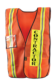 Occunomix Non-ANSI Mesh Contractor Safety Vest - Front view of Occunomix Orange Mesh High Viz safety vest with thin silver on yellow striping going up the front on the left and right side. Clear badge holder on upper right outside. Contractor label on left front outside. Black binding around all vest edging. Inside lower pocket and elastic side straps.
