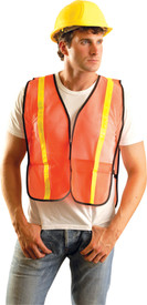 Occunomix NON-ANSI Mesh Gloss Safety Vest - Front view of man wearing Occunomix orange high visibility mesh safety vest with yellow narrow width reflective tape up right and left sides and over shoulders and elastic sides