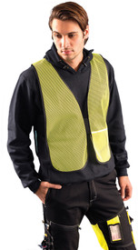Occunomix NON-ANSI Mesh Elastic Side Safety Vest - Front view of man wearing Occunomix yellow high visibility mesh safety vest with elastic sides and no reflective tape.