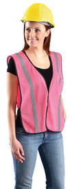 Occunomix NON-ANSI Mesh Pink Safety Vest - Front side view of woman wearing Occunomix pink mesh safety vest with thin 1 inch silver tape on the front and over the shoulders and side elastic straps. One inside lower left pocket and black binding around all edges of the vest.