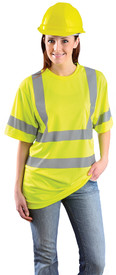 Occunomix Class 3 Lightweight Hi-Viz Short Sleeve T-Shirt - Front view of woman wearing Occunomix yellow hi visibility short sleeve safety t-shirt with 2 silver reflective tape around shirt mid section, silver reflective tape up the front and over the shoulders, silver reflective tape around both sleeves and 1 upper left chest pocket.