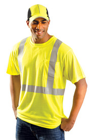 Occunomix Class 2 Black Bottom Hi-Viz Short Sleeve T-Shirt - Front view of man wearing Occunomix yellow hi visibility short sleeve safety t-shirt with silver reflective tape around shirt mid section, silver reflective tape up the front and over the shoulders and upper left chest pocket.