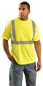 Occunomix Class 2 Wicking Polyester Short Sleeve T-Shirt - Front view of man wearing Occunomix yellow hi visibility short sleeve safety t-shirt with silver reflective tape around shirt mid section, silver reflective tape up the front and over the shoulders and upper left chest pocket.