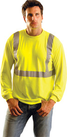 Occunomix Class 2 Hi-Viz Wicking Long Sleeve T-Shirt - Front view of man wearing Occunomix yellow hi visibility long sleeve safety t-shirt with silver reflective tape around shirt mid section and over the shoulders.