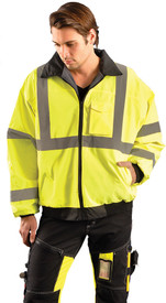 Occunomix Class 3 Waterproof Value Bomber Jacket - Front view of  Occunomix yellow and black high visibility bomber jacket with zipper front closure, elastic bottom, 1 silver reflective tape placed horizontally around mid section, 2 silver reflective tape placed on both arms at wrists and elbows and silver reflective tape place vertically on front and over both shoulders.