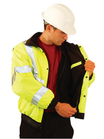 Occunomix 2 Tone Class 3 Removable Liner Bomber Jacket - Front view of  Occunomix yellow high visibility bomber jacket with zipper and snap front closure, elastic bottom, 2 lower slat pockets, 1 top left radio pocket, 1 silver reflective tape placed horizontally around mid section, 2 silver reflective tape placed on both arms at wrists and elbows, silver reflective tape place vertically on front and over both shoulders and inside removable zip out liner.