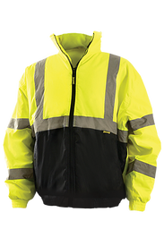 Occunomix Class 3 Hi-Viz Quilted Waterproof Bomber Jacket - Front view of  Occunomix yellow and black bottom high visibility Bomber Jacket with zipper front closure, 2 lower slat pockets, 2 silver reflective tape placed on both arms below and above elbows, silver reflective tape placed horizontally around coat mid section and silver reflective tape placed vertically going up front of both sides of coat and over shoulders.