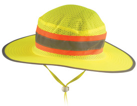Occunomix Hi-Viz Mesh Ranger Hat - Occunomix Yellow mesh high visibility ranger style hat with large circular brim, silver on orange reflective tape, and adjustable neck string