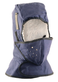 Occunomix 2 Layers Cotton Lined Shoulder Mouthpiece Sherpa - Occunomix head protective liner with white soft lining and blue exterior with a Velcro neck flap and a full mouth protector attached