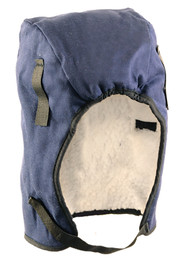 Occunomix Sherpa Lined Mid Length Head Protector - Occunomix head protective liner with white soft ling and blue exterior with thin Velcro under the chin strap