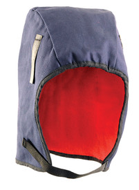 Occunomix 2 Layers Fleece Lined FR Treated Sherpa - Occunomix head protective liner with red fleece ling and blue exterior with thin Velcro under the chin strap