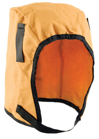 Occunomix 1 Layer Cotton Winter Head Protector - Occunomix head protective liner with orange interior and yellow exterior with thin Velcro under the chin strap