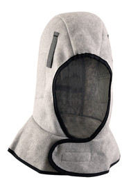 Occunomix 1 Layer Plush Fleece Head Protector - Occunomix head protective liner with fleece lining and gray exterior with a Velcro neck flap