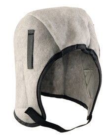 Occunomix 1 Layer Plush Fleece Lined Winter Head Protector - Occunomix head protective liner with fleece lining, Gray exterior and thin Velcro chin strap