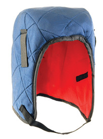 Occunomix 3 Layers Tyvek Quilted Nylon Head Protector - Occunomix head protective liner with red interior, Blue quilted exterior and thin Velcro chin strap