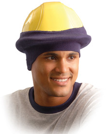 Occunomix Full Face Hard Hat Tube Liner - Occunomix Navy blue hard hat head warmer, fits over brim of hard hats
