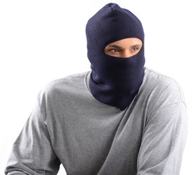 Occunomix Fleece Lined Face Mask Made in USA - Man wearing Occunomix Navy knit head, face & neck mask with one large hole cut out for eyes