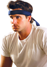 Occunomix Miracool Cotton Adjustable Headband - Man wearing Occunomix Navy blue forehead padded bandanna with back tie closure