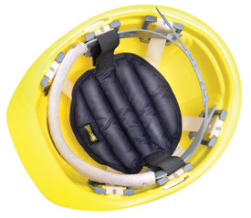 Occunomix Miracool Hook & Loop Hard Hat Pad - Occunomix Black hard hat rib pad at top and inside yellow hard hat