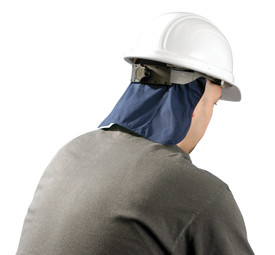 Occunomix Miracool Hard Hat Pad with Shade - Back view of man wearing Occunomix Navy blue neck sun protection shade flap attached to the back of a white hard hat